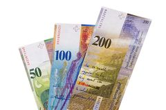 Szwajcarscy franki rachunku odizolowywającego na białym tle Zdjęcia Stock