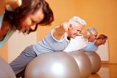 szwajcarscy piłek tylni ćwiczenia Obraz Stock