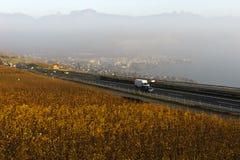 Szwajcarska autostrada Żadny 9 biega przez Lavaux winniców fotografia royalty free