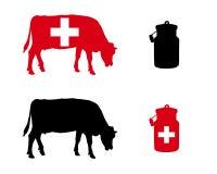 Szwajcarska dojna krowa ilustracji