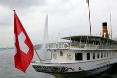 Szwajcarska przyjemności łódź Obraz Royalty Free