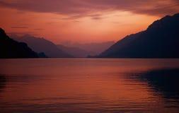 Szwajcarski jeziorny zmierzch Obrazy Royalty Free