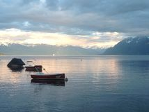 Szwajcarski jeziorny zmierzch Zdjęcie Royalty Free
