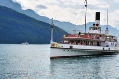 Szwajcarski retro koło parostatek na jeziornej lucernie Zdjęcia Royalty Free