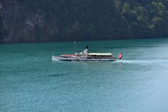 Szwajcarski retro koło parostatek na jeziornej lucernie Fotografia Royalty Free