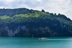 Szwajcarski retro koło parostatek na jeziornej lucernie Obrazy Royalty Free