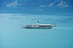 Szwajcarski retro koło parostatek na jeziornej lucernie Zdjęcia Stock
