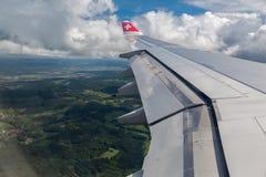 Szwajcarski samolot w Zurich Szwajcaria Obraz Stock