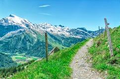 szwajcarskie alpy Fechtująca się droga w górach dla chodzić ludzi LAN Obrazy Royalty Free