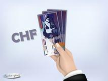 Szwajcarskiego franka pieniądze papier na ręce, gotówka na ręce royalty ilustracja
