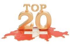 Szwajcary Nakrywają 20 pojęcie, 3D rendering Obraz Stock