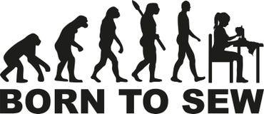 Szwalna ewolucja - urodzona szyć ilustracja wektor
