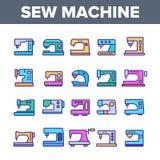 Szwalne maszyny, Krawieckiego wyposażenia Wektorowe Liniowe ikony Ustawiać ilustracji