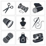 Szwalne ubraniowej manufaktury ikony ustawiać ilustracji