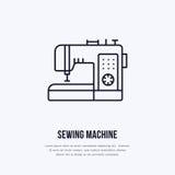 Szwalnej maszyny mieszkania linii ikona, logo Wektorowa ilustracja krawczyna dostawy dla ręcznie robiony sklepu lub dressmaking u Obraz Royalty Free