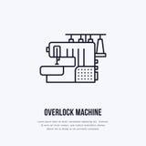 Szwalnej maszyny overlock mieszkania linii ikona, logo Wektorowa ilustracja krawczyna dostawy dla ręcznie robiony sklepu lub dres Obraz Royalty Free