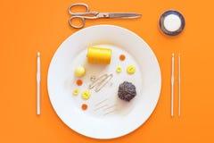 Szwalni składniki przedstawiający jako posiłek Zdjęcia Stock
