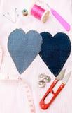 Szwalny materiał na tkanina wzorze Zdjęcia Stock