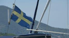 Szwecja Drzejąca flaga na statku zdjęcie wideo