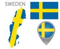 Szwecja flaga, mapa i mapa pointer, ilustracja wektor