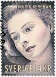 SZWECJA - 1992: przedstawienia Ingrid Bergman 1915-1982, aktorka Obraz Stock