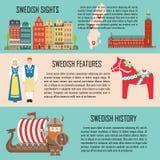 Szwecja sztandar ustawiający z widokami, cechy, historia ilustracja wektor