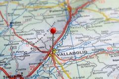 Szwecja Sztokholm, 07 2018 Kwiecień: Europejscy miasta na map seriach Zbliżenie Valladolid zdjęcia stock