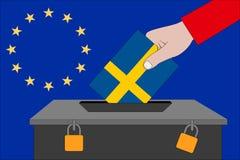 Szwecja tajnego głosowania pudełko dla Europejskich wyborów zdjęcia royalty free