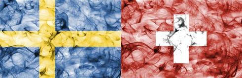 Szwecja vs Szwajcaria dymu flaga, kwartalni finały, futbolowy puchar świata 2018, Moskwa, Rosja ilustracji