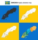 Szwecja - wektor wysoce szczegółowa polityczna mapa z regionami, prov Fotografia Royalty Free