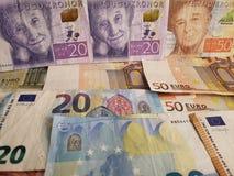 szwedzcy banknoty i euro rachunki zdjęcie stock