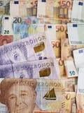 szwedzcy banknoty i euro rachunki obraz royalty free