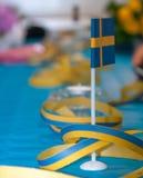 Szwedzi stołu flaga Obrazy Stock