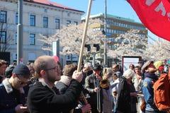 Szwedzi zaludniają przy Międzynarodowym pracownika dniem w Gothenburg, Szwecja, ogólnospołeczni demokrata, tłoczą się, polityczny Obraz Stock