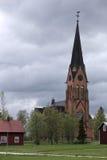Szwedzki kościół w Oviken w Jamtland okręgu administracyjnym fotografia royalty free