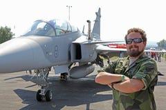 Szwedzki samolot JAS-39 Grippen Zdjęcia Stock