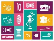 Szyć i uszycia ikony w mieszkanie stylu ilustracji