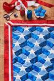 Szyć kołderka z stylizowanymi elementami flaga amerykańska Fotografia Royalty Free