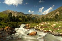 Szybka bieżąca rzeka w górach, Kirgistan zdjęcia royalty free
