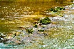 Szybka bieżąca woda w zatoczce z brązu światłem słonecznym i skałami zdjęcie royalty free