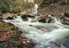 Szybka halna rzeka z kamieniami i siklawą w lesie Obraz Royalty Free