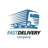 Szybki Doręczeniowej ciężarówki loga szablon wektor ilustracja wektor