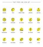 Szybki foodline ikony set Zdjęcie Stock