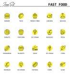 Szybki foodline ikony set Obrazy Royalty Free