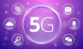 Szybki 5G technologii pojęcia tło, kreskówka styl ilustracji