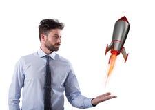 Szybki rakietowy przygotowywający komarnica postu rozpoczęcie nowy firmy pojęcie Obrazy Royalty Free