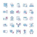 Szybkich doręczeniowych logistycznie ikon duży set w mieszkanie stylu royalty ilustracja