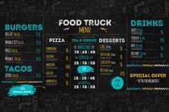 Szybkie Żarcie festiwalu menu szablon, uliczna restauracyjna broszurki pokrywa Nowożytna ciężarowa ulotka z pociągany ręcznie lit Obraz Stock