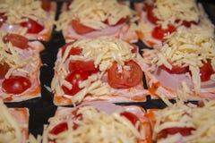 Szybkie mini pizze przygotowywać dla piec Zdjęcie Stock