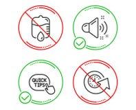 Szybkie porady, kropla odpierająca i Głośne rozsądne ikony ustawiać, Aktualizacja czasu znak Pomocniczo sztuczki, sprzęt medyczny ilustracja wektor